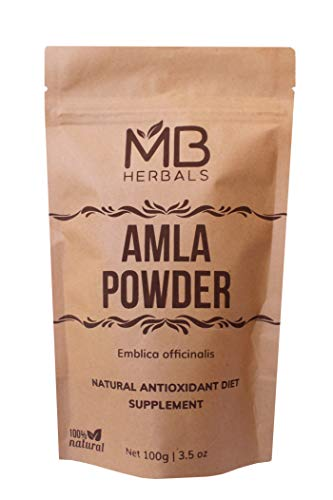 MB Herbals Pure Amla Powder 100 Gram | Amalaki | Super Food | Promotes Immunity & Healthy Digestion | Non-Irradiated Unrefined & Raw | Non-GMO | Gluten-Free | No-Preservatives
