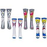 Sailor Moon Socks Women & Girls (3 & 4 Pair) - Crew Socks - Fits Shoe Size: 4-10 (Ladies)