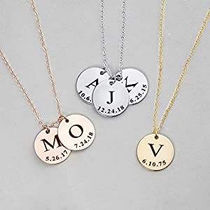 Valentine Day Gift Delicate Initial Disc Necklace Coin Graduation Gift Amazon Handmade Gift for Her Personalized Initial…