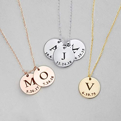 Same Day Shipping Before 12pm Delicate Initial Disc Necklace Coin Graduation Gift Mothers Day Gift Personalized Initial Jewelry for Women - LCN-ID-L ()