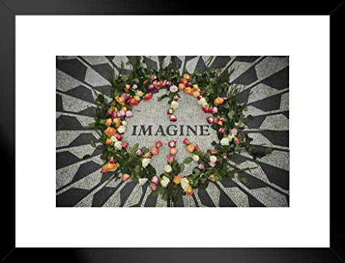 Pyramid America Imagine Strawberry Fields Central Park Matted Framed Poster 20x26 inch