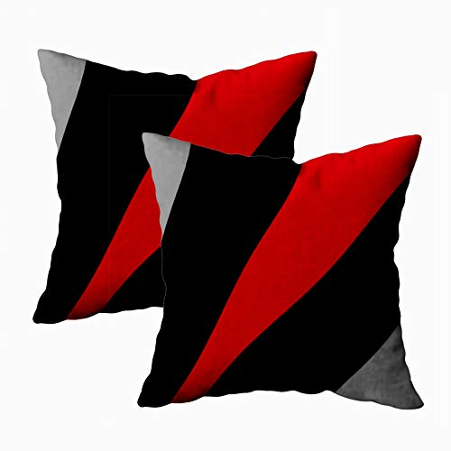 (Shorping Christmas Zippered Pillow Covers Pillowcases 18x18Inch 2 Pack Modern Abstract Style Black red Gray Decorative Throw Pillow Cover Pillow Cases Cushion Cover for Home Sofa Bedding)