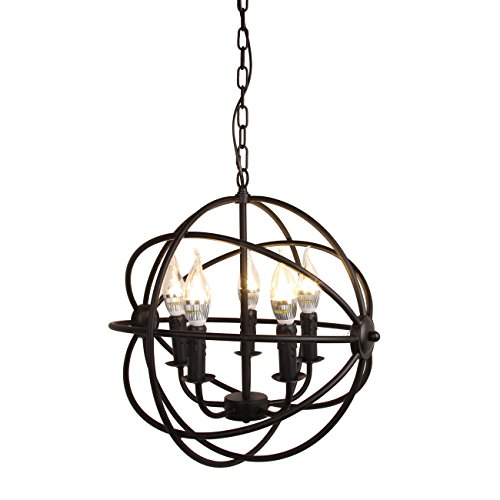 Wrought Iron Ceiling Lighting - Industrial Vintage Retro Globe Pendant Light Wrought Iron Cage Ceiling Lamp Fixture 5 Lights Chandelier E12 Bulb - Ridgeyard