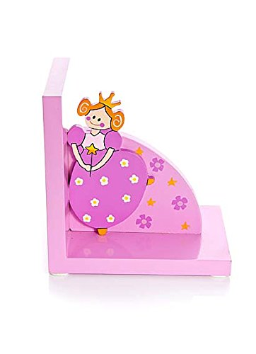 Pink Princess Childrens Wooden Bookends for Girls Bedroom or Nursery by Mousehouse Gifts (Image #2)