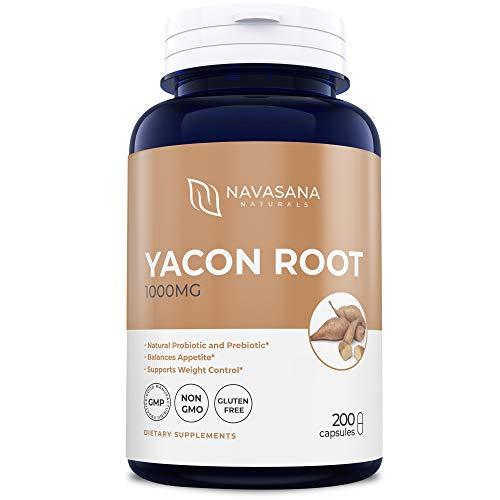 (Yacon Extract Supplements 1000 mg for Digestive Health and Weight Loss - Pure and Natural Probiotics and Prebiotics from Yacon Root - 200 Yacon Capsules by Navasana Naturals)