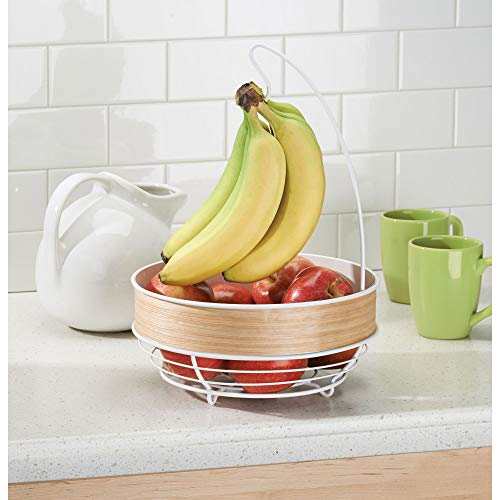(InterDesign RealWood Kitchen Fruit Tree Bowl with Banana Hanger - White/Light Wood Finish)