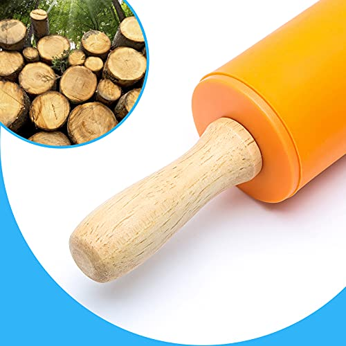 Koogel Mini Rolling Pin, 2 Pack 9 Inch Kids Rolling Pins Wooden Handle Non-Stick Silicone Rolling Pins for Children Baking Kitchen Tools