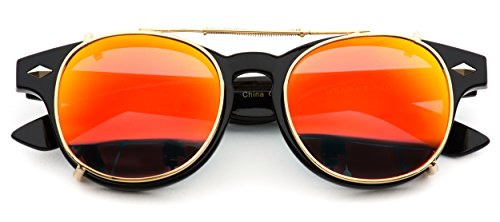 Vintage Clip On Lens Retro Sunglasses (Mirrored Red, 48)