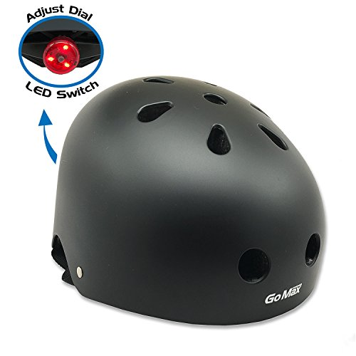 GoMax Original Classic Commuter Bike Skate Protective Helmet Adjustable CPSC Certified Skateboard Skating / Roller Multi Sport Helmet Gear for Youth and Adult (Black, Large)