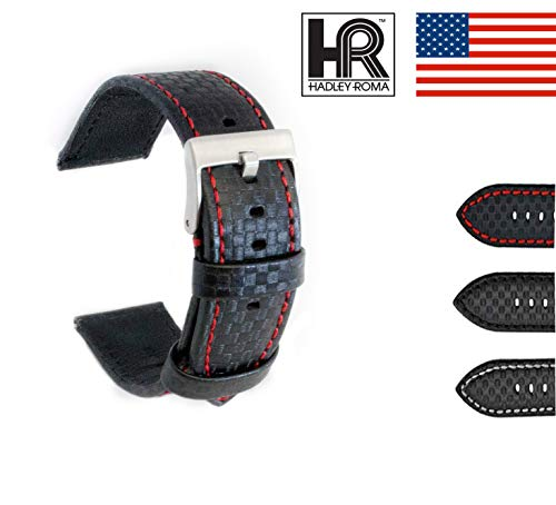Hadley-Roma Men's Carbon Fiber Style MS847 Watch Strap (22, Black) ()