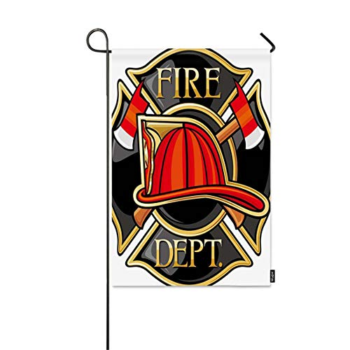 Mugod Fire Department Garden Flag Firefighters Maltese Cross Symbol Decorative Spring Summer Outdoor House Flag for Garden Yard Lawn 12 x 18 Inch