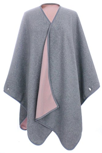 - LL Womens Light Gray and Pink Reversible Fleece Blanket Poncho Button Sleeves