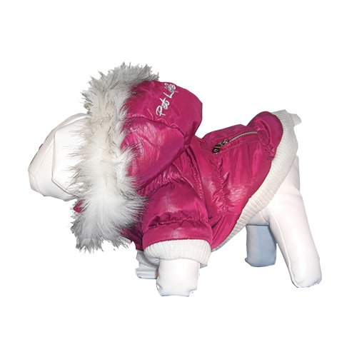 Pet Life Fashion Parka with Removable Hood – Pink Metallic – Small, My Pet Supplies