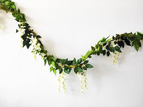 Sunrisee 2 Pcs Artificial Flowers 6.6ft Silk Wisteria Ivy Vine Hanging Flower Greenery Garland for Wedding Party Home Garden Wall Decoration, White (Spring Garland)