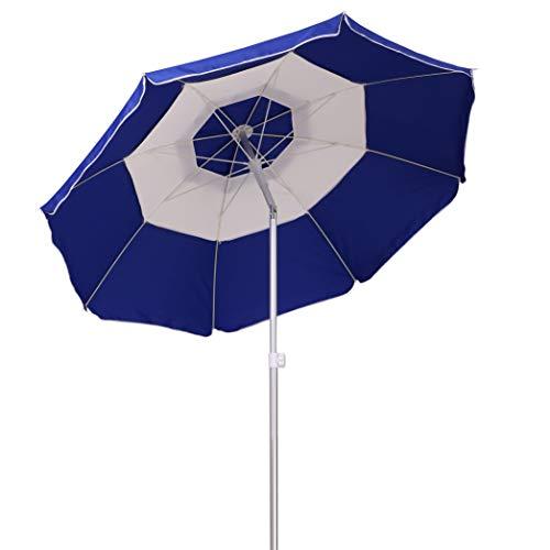AMMSUN 2018 7ft Beach Patio Umbrella 8 Panels Adjustable Height, Fantastic Design with Tilt Air Vent UPF 50+ Dark Blue/White