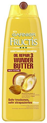 Garnier Fructis Haar Shampoo Oil Repair 3 Wunder Butter / Haarshampoo für trockenes, strapaziertes Haar (mit Mandel, Jojba & Macadamia) 3er Pack - 250ml