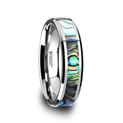 Thorsten Maui Ring Tungsten Carbide with Mother of Pearl Inlay 6mm Wide Wedding Band from Roy Rose Jewelry Size 5.5