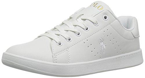 Polo Ralph Lauren Kids Boys' Quincy Court Sneaker, White Tumbled White Pop-Gold, 11 Medium US Little Kid