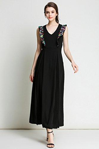 V Gestickt Retro Sexy Damen Cocktailkleider Maxi Abendkleider lange Ausschnitt Ababalaya Arm Chiffon Partykleider Ohne F8In1