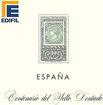 EDIFIL Juegos Hojas Álbum de Sellos España. España Centenario Sello dentado (1965-1975)  Papel Blanco Estuches Transparentes: Amazon.es: Juguetes y juegos