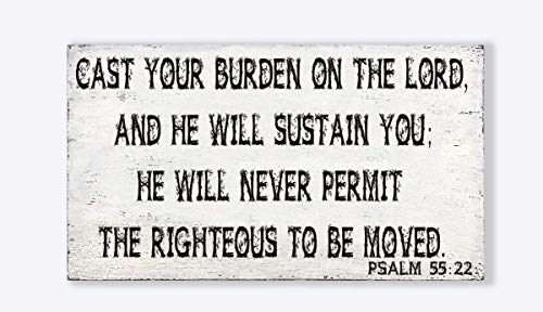 Psalm 55:22: Cast Your Burden On The Lord, and He Will Sustain You Vintage Inspirational Quote Wood Hanging Sign Decorative Rustic Wooden Signs Wood Block Plaque - 7x12 Inches
