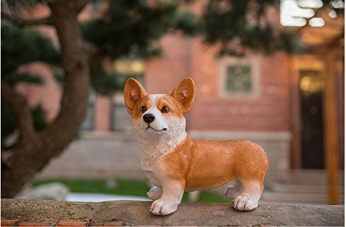 Gift World Welsh Corgi Pembroke Indoor Outdoor Figurine Statue Figure Collectibles Dog Statue (Yellow) (Welsh Corgi Figurine)