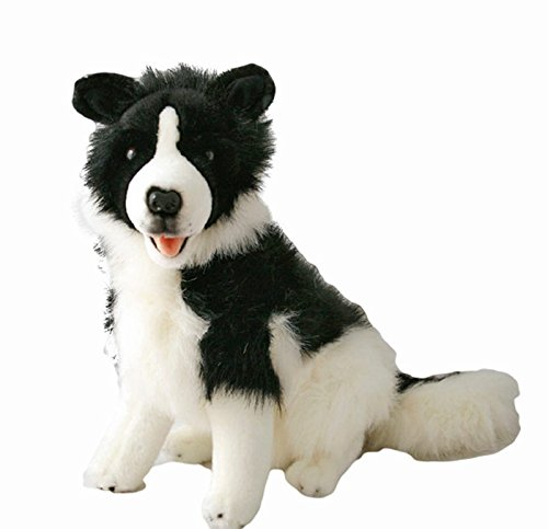 - Bocchetta Plush Toys Border Collie Tommy Sitting Soft Plush Toy Medium Black/White