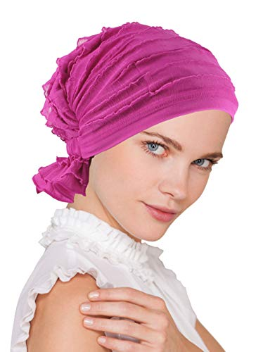 Abbey Cap Womens Chemo Hat Beanie Scarf Turban Headwear for Cancer Ruffle Hot Pink