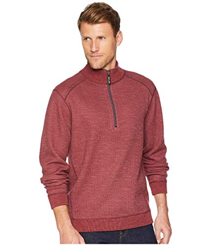 (Tommy Bahama Mens Reversible Flipsider 1/2 Zip Pullover (Large, Plum Raisin Heather))