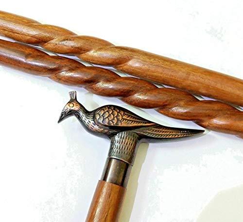 - Historicalhub Solid Black Antique Peacock Handle Vintage Antique Wooden Walking Stick Cane