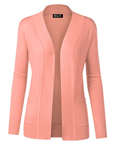 B.I.L.Y BILY Women Open Front Long Sleeve Classic Knit Cardigan Peach X-Large (Orange Cardigan Sweater)