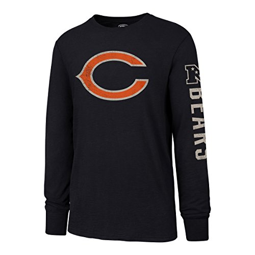 (NFL Chicago Bears Men's OTS Slub Long Sleeve Team Name Distressed Tee, Fall Navy, Medium)