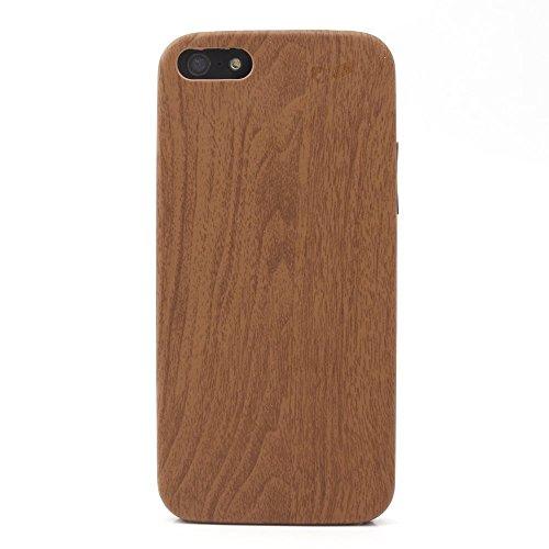iProtect TPU Schutzhülle Apple iPhone 5, 5s, SE Soft Case - flexible Hülle in Holz-Design hölzern braun