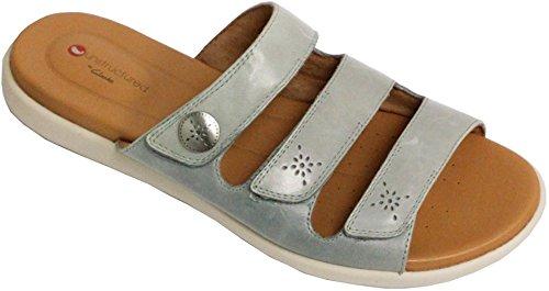 Clarks Kvinnor Un Reisel Myra Glid Sandal Blå / Grå Läder
