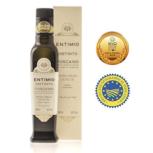 Entimio Distinto | Tuscany Medium Extra Virgin Olive Oil | 2018 Harvest, 2019 EVO-IOOC Gold Award, Fruity, Estate Bottled, Italy, High Antioxidants | 8.5 fl oz