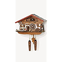 Musical Black Forest Quartz Chalet Cuckoo Clock with Waitress by Trenkle Uhren