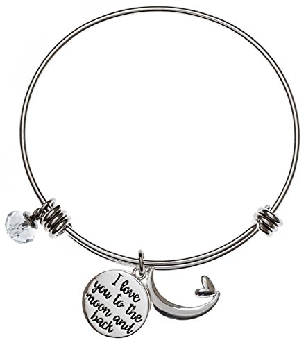 [Carly Creation I Love You To The Moon And Back Silver Expandable Charm Bangle Bracelet] (Link Deluxe Adult Kit)