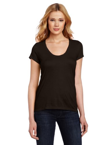Splendid Women's Very Light Jersey Short Sleeve U Neck Tee, Black, Medium