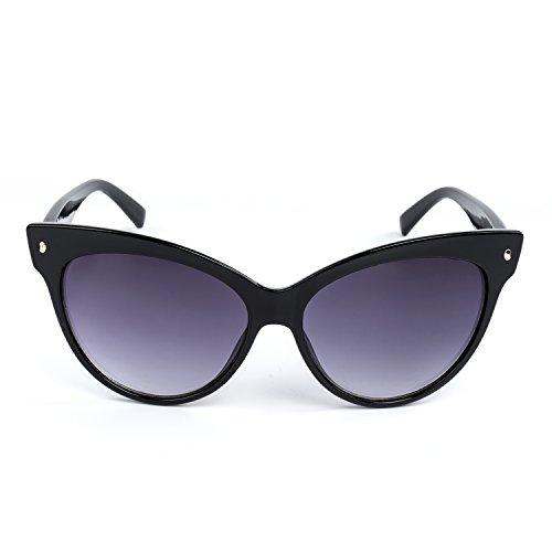 Plastic Gray Lens (Vintage Cateye Sunglasses Plastic Frame Mirrored big Lens (gray))