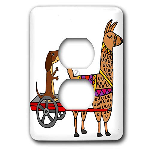3dRose All Smiles Art Pets - Cute Funny Dachshund in Red Wagon Pulled by Llama Cartoon - Light Switch Covers - 2 plug outlet cover (lsp_288106_6)