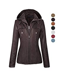 Newbestyle Women Hooded Faux Leather Zipper Motorcyle Jacket