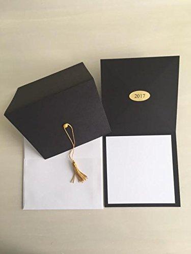 2017-Black cap graduation invitation-gold tassel- blank insert cards-25 count with (Photo Graduation Announcements)