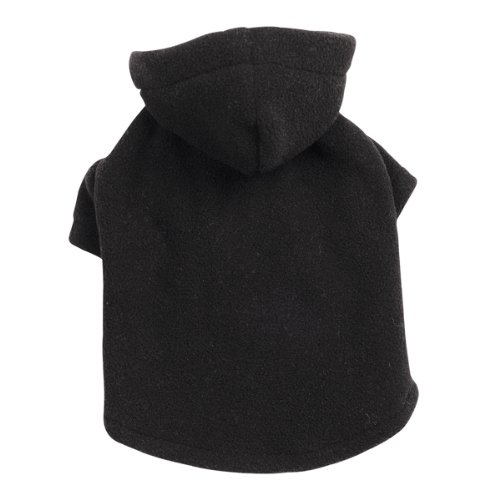 Casual Canine Polyester Basic Fleece 6-Inch Dog Hoodie, Teacup, Black