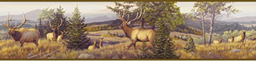 Chesapeake HTM48491B Breeze Purple Elk Mountain Portrait Wallpaper Border