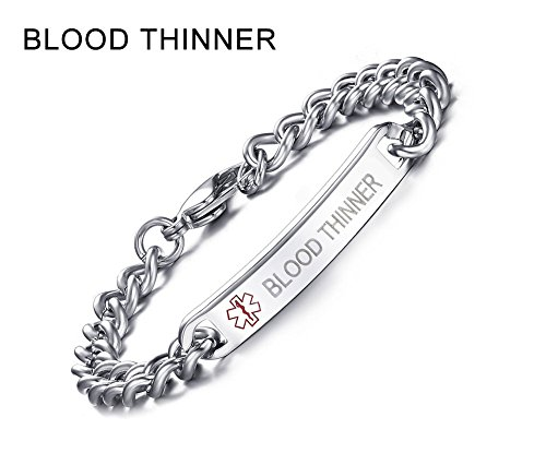 BLOOD THINNER-8mm High Polished Surgical Steel Chain Medical Alert ID Bracelets for Men&Women,8