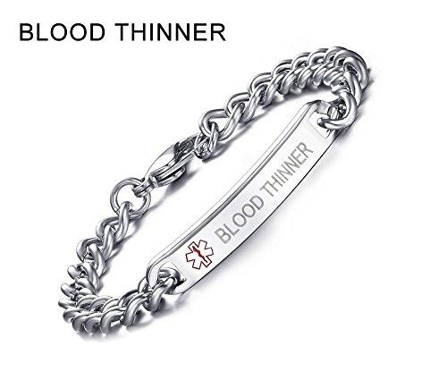 BLOOD THINNER-8mm High Polished Surgical Steel Chain Medical Alert ID Bracelets for Men&Women,8