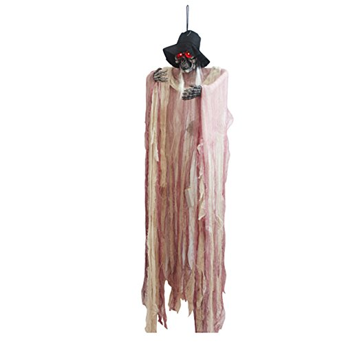 elegantstunning Halloween Props Animated Skeleton Hanging Witch Ghost Voice Activated Scary Spooky Halloween Haunted House Bar KTV Decoration -