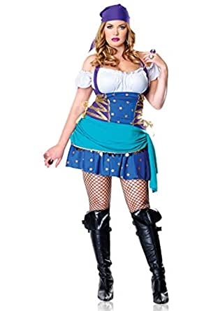 Leg Avenue Women's 2 Piece Gypsy Costume, Multi, 1X-2X