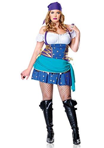 Leg Avenue Women's 2 Piece Gypsy Costume, Multi, 1X-2X -