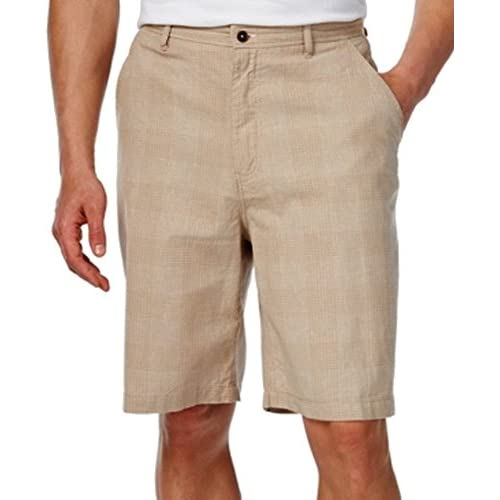 331b2bab81 lovely GEOFFREY BEENE Mens Plaid Classic Fit Flat Front Shorts Beige ...